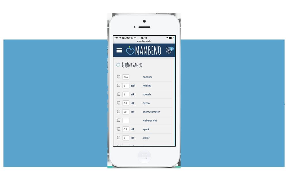 WOYE Webdesign af indkøbsliste til Mambeno