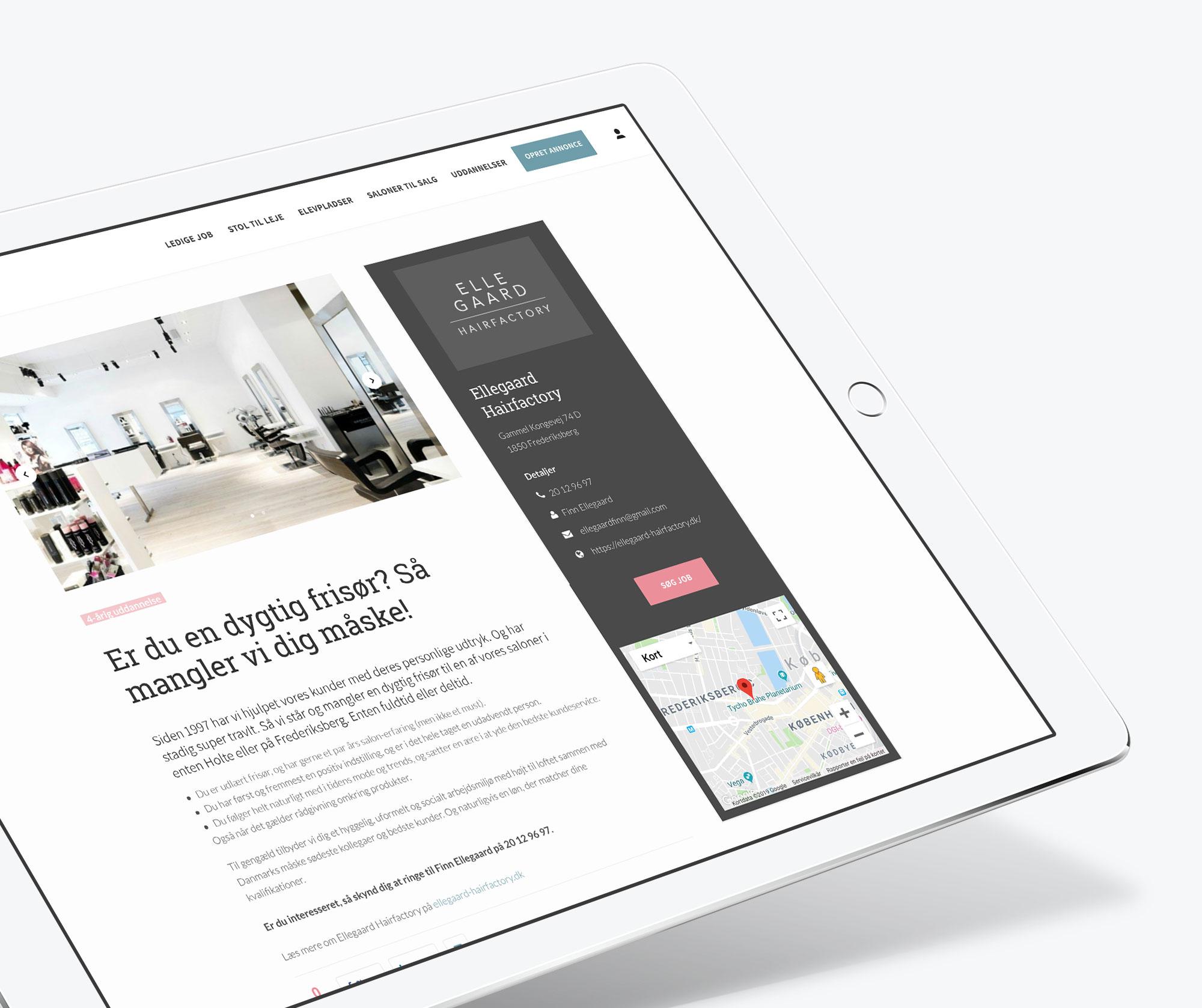 Website redesign af WOYE for Frisørjob.dk